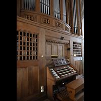 Bautzen, Dom St. Petri (Eule-Orgel im evangelischen Teil), Spieltisch der Eule-Orgel seitlich