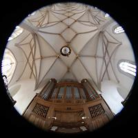 Bautzen, Dom St. Petri (Eule-Orgel im evangelischen Teil), Eule-Orgel und Blick ins Gewölbe