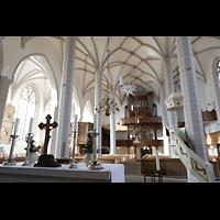 Bautzen, Dom St. Petri (Eule-Orgel im evangelischen Teil), Blick vom evangelischen Altar zur Westwand mit Eule-Orgel