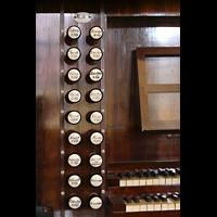 Bautzen, Dom St. Petri (Eule-Orgel im evangelischen Teil), Linke Registerstaffel der Kohl-Orgel