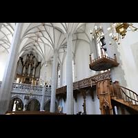 Görlitz, Frauenkirche, Seitlicher Blick auf Orgel und Kanzel