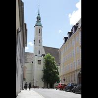Görlitz, Dreifaltigkeitskirche, Außenansicht mit Turm von der Fleischhauerstraße im Norden