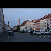 Görlitz, Dreifaltigkeitskirche, Abendlicher Blick von der Nordwestseite des Obermarkts auf die Kirche