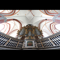 Brandenburg, St. Katharinen (Hauptorgelanlage), Orgelempore mit Hauptorgel mit dem Wagner-Prospekt