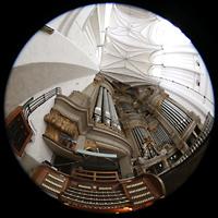 Rostock, St. Marien (Turmorgel), Spieltisch und Hauptorgel