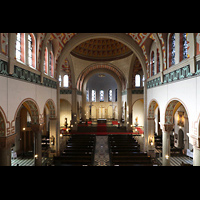Düsseldorf - Oberkassel, St. Antonius, Blick von der Hauptorgelempore in die Kirche