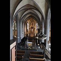 Düsseldorf, Basilika St. Lambertus, Blick über das Rückpositiv in die Kirche