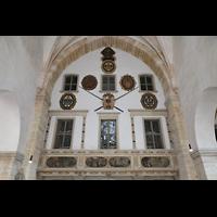 Merseburg, Dom St. Johannes und St. Laurentius, Vorhalle mit Orgelrückwand aus Teilen des ehem. barocken Fürstenstuhls