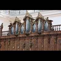 Weingarten, Basilika St. Martin - Chororgel, Chororgel (nur Pfeifen des Choralbass XV von Gabler) auf der Südseite