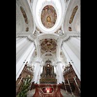 Weingarten, Basilika St. Martin - Chororgel, Blick vond er Vierung in die Kuppel und zum Chorraum