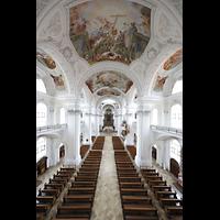 Weingarten, Basilika St. Martin - Chororgel, Blick von der Orgelempore in die Baslika