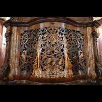 Weingarten, Basilika St. Martin - Chororgel, Intarsien am Spieltisch der Hauptorgel - hinter dem Gitter: ein Glockenspiel