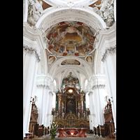 Weingarten, Basilika St. Martin - Chororgel, Chrraum mit Hochaltar und Deckengemälden