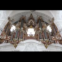 Weingarten, Basilika St. Martin - Chororgel, Hauptorgel perspektivisch