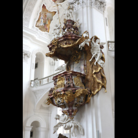 Weingarten, Basilika St. Martin - Chororgel, Barocke Kanzel mit reichhaltigem Figurenschmuck
