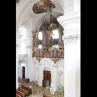 Weingarten, Basilika St. Martin - Chororgel, Hauptorgel von der Seitenempore aus gesehen
