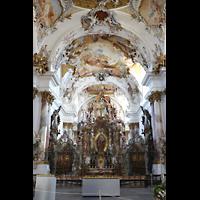 Zwiefalten, Münster Unserer Lieben Frau (Chororgel), Chorraum mit der zweigeteilten Chororgel