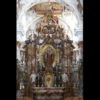 Zwiefalten, Münster Unserer Lieben Frau (Chororgel), Gnadenaltar (vorne) mit Marienstatue, hinter dem Chorgitter der Hochaltar