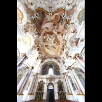 Zwiefalten, Münster Unserer Lieben Frau (Chororgel), Innenraum in Richtung Orgel mit Blick auf die Deckenfresken
