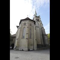 Lausanne, Saint-François (Spanische Orgel), Chor von außen mit Turm