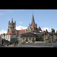 Lausanne, Cathédrale, Außenansicht von der Bessières-Brücke