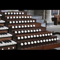 Lausanne, Cathédrale, Rechte Registerstaffel am mobilen Spieltisch