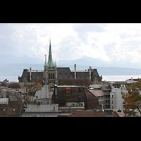 Lausanne, Saint-François (Spanische Orgel), Ansicht vom Place de la Cathédrale vom gegenüberliegenden Hügel