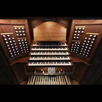Lausanne, Saint-François (Spanische Orgel), Spieltisch perspektivisch