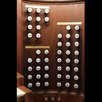 Lausanne, Saint-François (Spanische Orgel), Rechte Registerstaffel der Hauptorgel