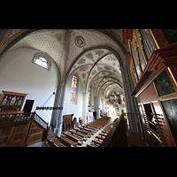 Lausanne, Saint-François (Spanische Orgel), Blick von der spanischen Orgelempore auf die beiden anderen Orgeln