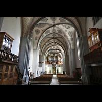 Lausanne, Saint-François (Spanische Orgel), Blick vom Chorraum in Richtung Hauptorgel auf alle drei Orgel