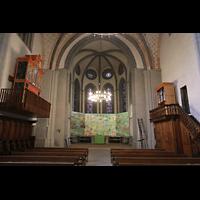 Lausanne, Saint-François (Spanische Orgel), Chorraum mit italienischer und spanischer Orgel