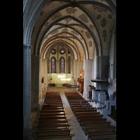 Lausanne, Saint-François (Spanische Orgel), Blick von der Hauptorgelempore in die Kirche