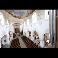 Arlesheim, ehem. Dom, Blick von der Orgelpore am Rückpositiv vorbei in den Dom