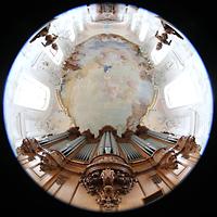 Arlesheim, ehem. Dom, Orgelprospekt und Blick in den gesamten Innenraum