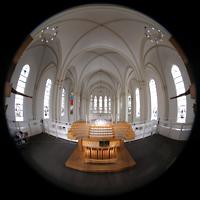 Berlin (Schöneberg), St. Matthias, Spieltisch mit Blick zum Chor