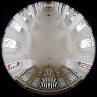 Straubing, Basilika St. Jakob, Blick von der Orgel ins Gewölbe