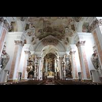 Metten, Benediktinerabtei, Pfarr- und Stiftskirche St. Michael, Innenraum in Richtung Chor