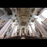 Metten, Benediktinerabtei, Pfarr- und Stiftskirche St. Michael, Innenraum mit Deckengemälden
