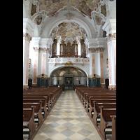 Metten, Benediktinerabtei, Pfarr- und Stiftskirche St. Michael, Innenraum in Richtung Orgel