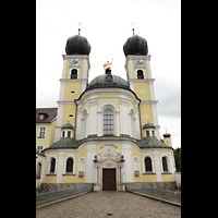 Metten, Benediktinerabtei, Pfarr- und Stiftskirche St. Michael, Außenansicht vom Prälatengarten