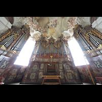Metten, Benediktinerabtei, Pfarr- und Stiftskirche St. Michael, Orgel perspektivisch