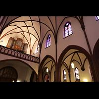 Berlin (Reinickendorf), Herz-Jesu-Kirche Tegel, Orgelempore schräg von unten