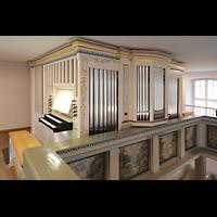 Berlin - Heiligensee, Dorfkirche, Orgel mit Spieltisch seitlich