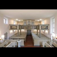 Berlin - Heiligensee, Dorfkirche, Innenraum in Richtung Orgel