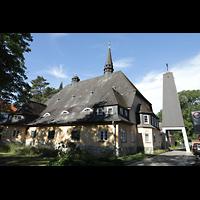 Berlin - Reinickendorf, St. Hildegard Frohnau (Positiv), Außenansicht mit Glockenturm
