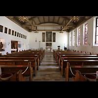 Berlin - Reinickendorf, St. Hildegard Frohnau (Positiv), Innenraum in Richtung Chor (ohne Beleuchtung)
