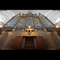 Hof, St. Michaelis, Orgel mit Spieltisch perspektivisch