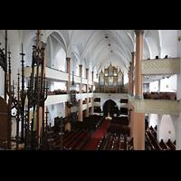 Hof, St. Michaelis, Blick von der linken Seitenempore zur Orgel