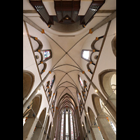 Mönchengladbach, Münster St. Vitus (Hauptorgel), Blick ins Gewölbe mit Chorraum und Orgel